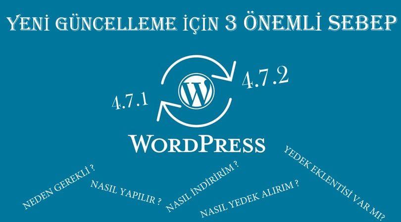 WordPress 4.7.2 sürümü yükseltme yapmak için 3 önemli sebep ve nasıl güncellenir