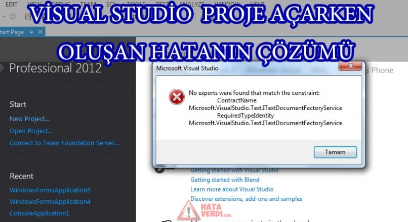 """(SOLUTION) Visual Studio Error Generating Project; """"No exports were found that match the constraint"""" how do I solve it?"""
