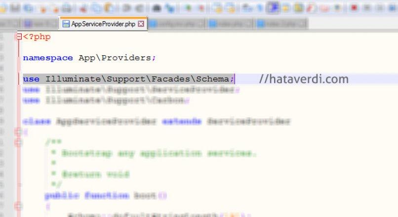 Laravel – Class 'App\Providers\Schema' not found